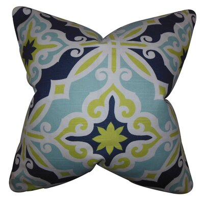Adriel Geometric Cotton Throw Pillow Cover Color: Green Blue