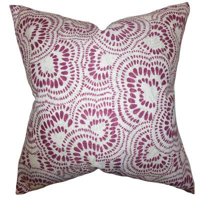 Glynis Floral Cotton Throw Pillow Cover Color: Bordeaux