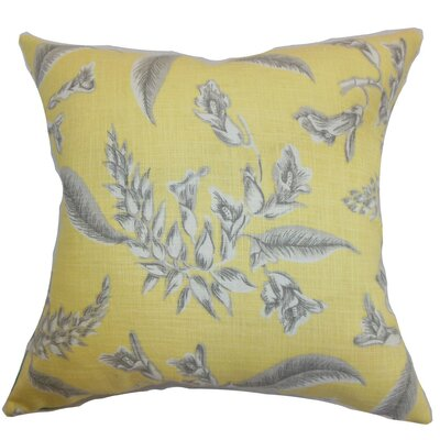 Kaitaia Floral Throw Pillow Cover Color: Yellow