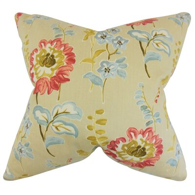 Haley Floral Cotton Throw Pillow Cover Color: Natural
