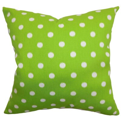 Rennice Ikat Dots Throw Pillow Cover Color: Green Natural