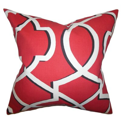 Curan Geometric Cotton Throw Pillow Cover Color: Red