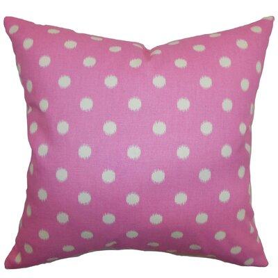 Rennice Ikat Dots Throw Pillow Cover Color: Pink Natural