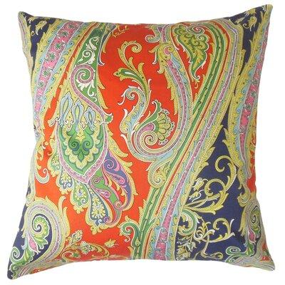 Efharis Paisley Cotton Throw Pillow Cover Color: Navy