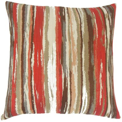 Uchenna Stripes Throw Pillow Cover Color: Lava