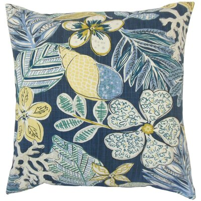 Felice Floral Cotton Throw Pillow Cover Color: Indigo