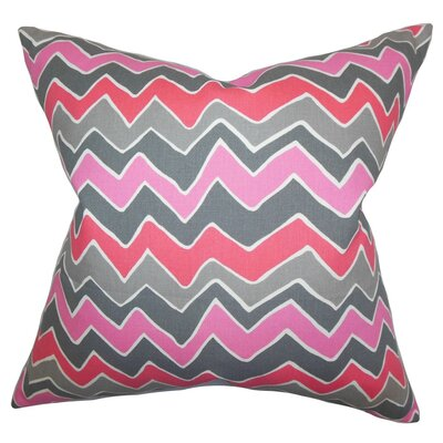 Achsah Zigzag Cotton Throw Pillow Cover Color: Pink Gray