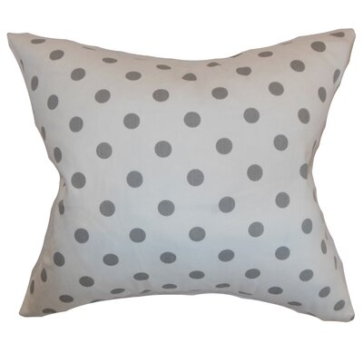Nancy Polka Dots Throw Pillow Cover Color: White Storm Twill