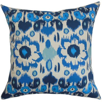 Perrysburg Ikat Cotton Throw Pillow Cover Color: Blue Natural