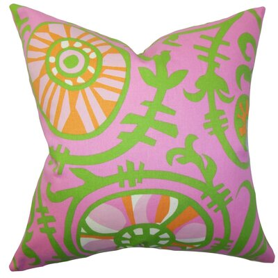 Brinsley Floral Cotton Throw Pillow Cover Color: Pink