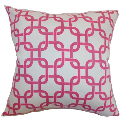 Qishn Geom Throw Pillow Cover Color: White Candy Pink