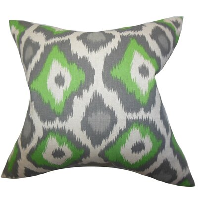 Camillei Ikat Throw Pillow Cover Color: Green