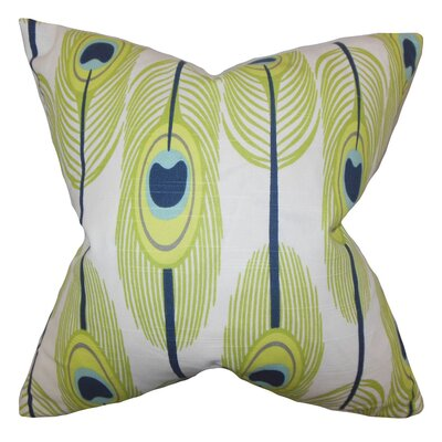 Hedy Feather Cotton Throw Pillow Cover Color: Green