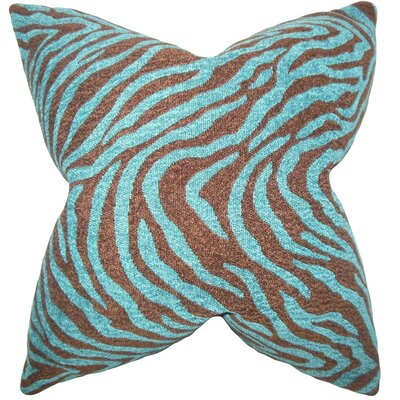 Delrick Zebra Print Throw Pillow Cover Color: Blue