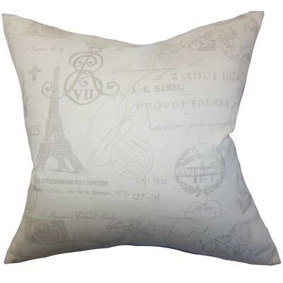 Geva Typography Cotton Throw Pillow Cover Color: Gray