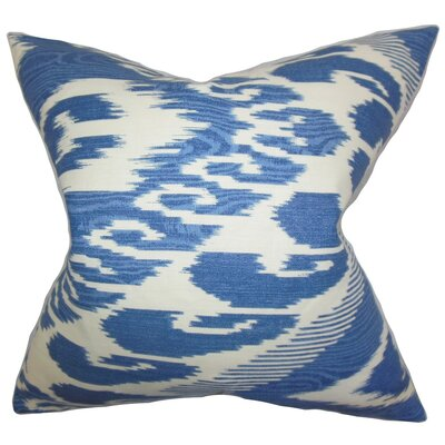 Delano Ikat Linen Throw Pillow Cover Color: Blue