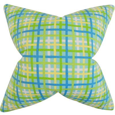 Manon Plaid Cotton Throw Pillow Cover Color: Turquoise