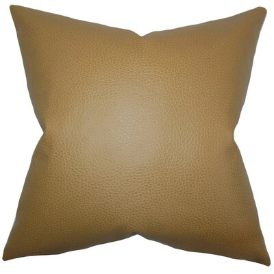 Quintas Solid Faux Leather Throw Pillow Size: 24 x 24
