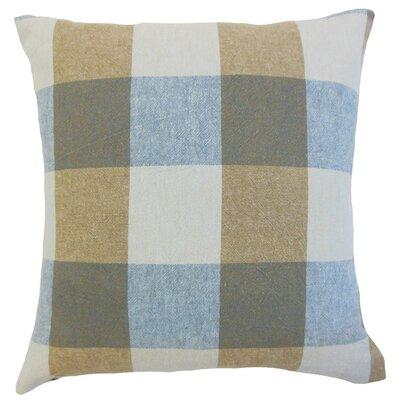 Amory Plaid Throw Pillow Cover Color: Indigo