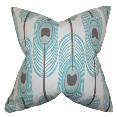 Hedy Feather Cotton Throw Pillow Cover Color: Blue