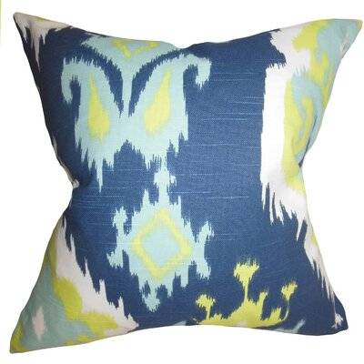 Britain Ikat Cotton Throw Pillow Cover Color: Blue Green