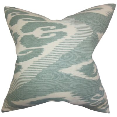 Delano Ikat Linen Throw Pillow Cover Color: Teal