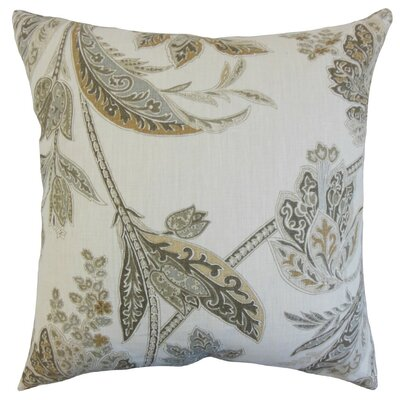 Taja Floral Linen Throw Pillow Cover Color: Ash