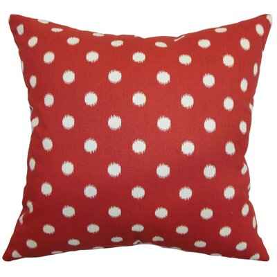 Rennice Ikat Dots Throw Pillow Cover Color: Primary Red Natural