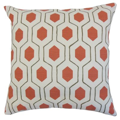 Flynn Geometric Linen Throw Pillow Cover Color: Poppy