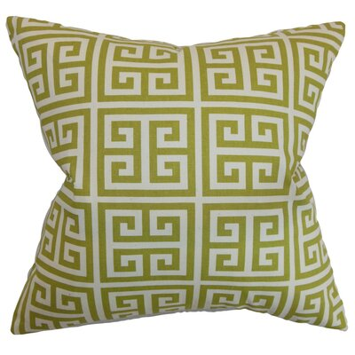 Callahan Greek Key Cotton Throw Pillow Cover Color: Village Green Natural