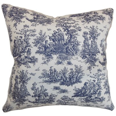 Lalibela Toile Throw Pillow Cover Color: Blue