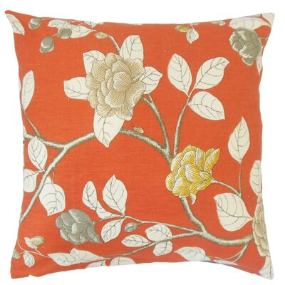 Pallavi Floral Throw Pillow Cover Color: Persimmon