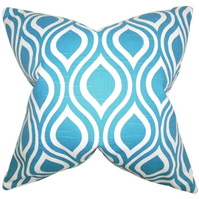 Burdge Geometric Cotton Throw Pillow Cover Color: Blue