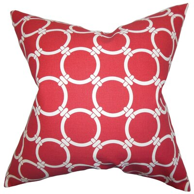 Betchet Geometric Cotton Throw Pillow Cover Color: Red