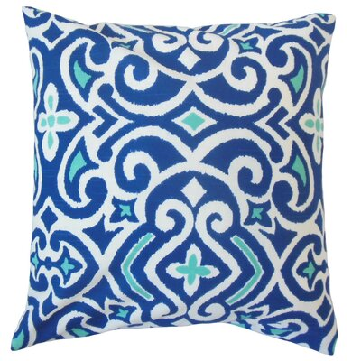 Caraf Damask Cotton Throw Pillow Cover Color: Marine