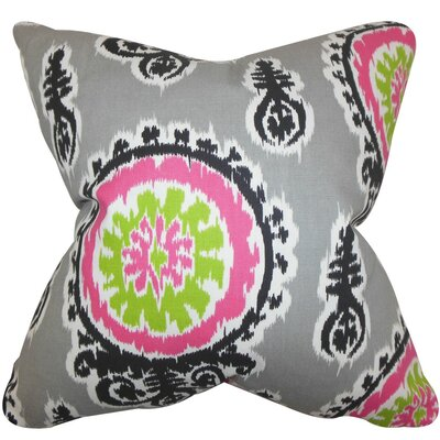 Oenpelli Ikat Cotton Throw Pillow Cover Color: Gray
