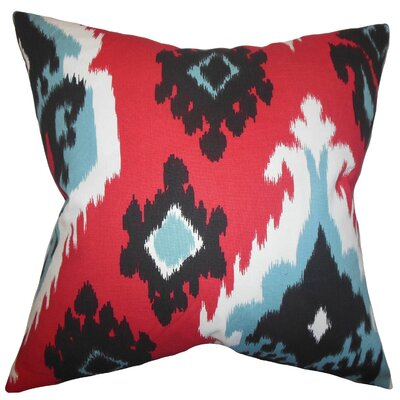Britain Ikat Cotton Throw Pillow Cover Color: Red