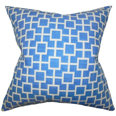 Janka Geometric Cotton Throw Pillow Cover Color: Blue