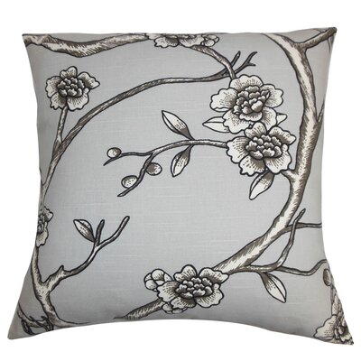 Mangels Floral Cotton Throw Pillow Cover Color: Gray