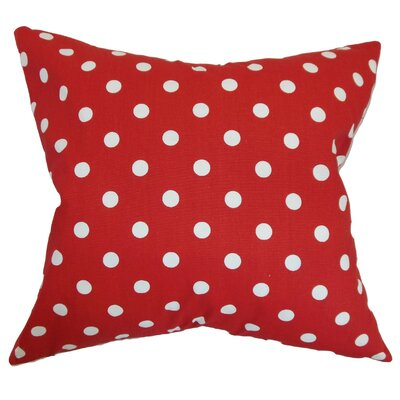Nancy Polka Dots Throw Pillow Cover Color: Lipstick Red
