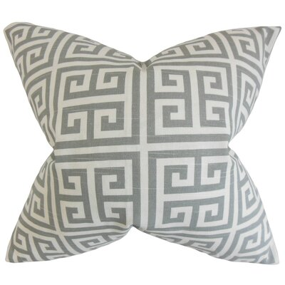 Callahan Greek Key Throw Pillow Cover Color: Ash