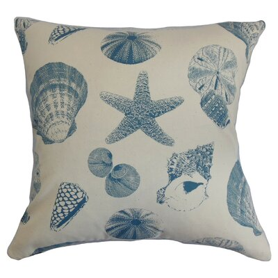 Rata Aquatic Cotton Throw Pillow Cover Color: White Blue