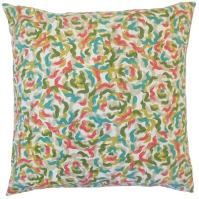 Junayd Graphic Cotton Throw Pillow Cover Color: Coral