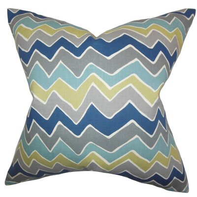 Achsah Zigzag Cotton Throw Pillow Cover Color: Gray Blue