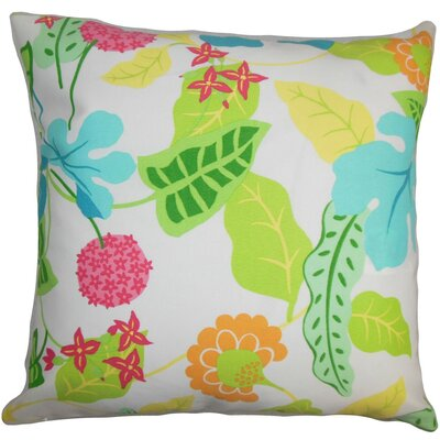 Roseland Floral Outdoor Linen Throw Pillow Cover Color: Green