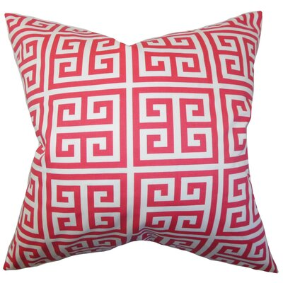 Paros Greek Key Cotton Throw Pillow Cover Color: Pink