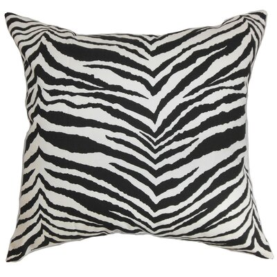 Cecania Zebra Print Cotton Throw Pillow Cover Color: Black White
