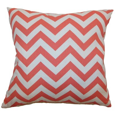 Burd Zigzag Throw Pillow Cover Color: Coral White