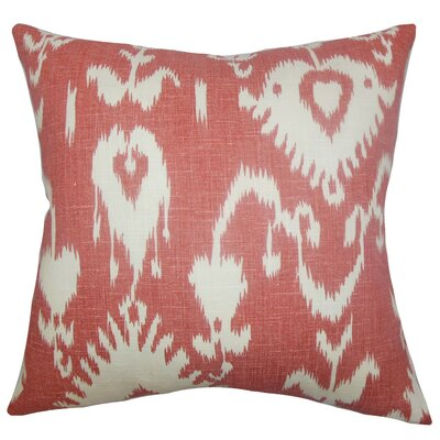 Burgoon Ikat Linen Throw Pillow Cover Color: Red