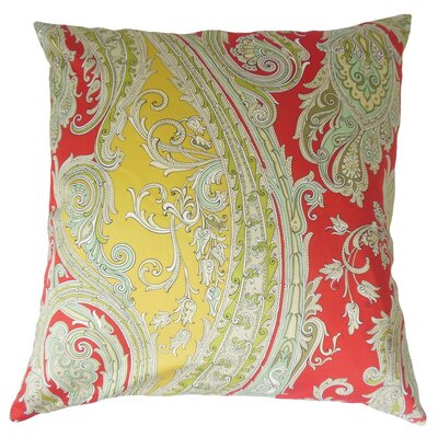 Efharis Paisley Cotton Throw Pillow Cover Color: Lacquer Red